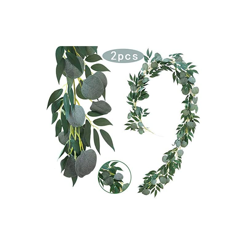 silk flower arrangements greentime 2 pack 6.5 feet artificial silver dollar eucalyptus leaves garland with willow leaves vine greenery for wedding party home decor greenery arch table garland runner hanging greenery