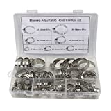 Pack of 58 Adjustable 8-38mm Range Stainless Steel Worm Gear Hose Clamps Assortment Kit