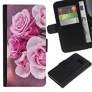 UberTech / Samsung Galaxy S6 SM-G920 / Roses Rose Pink Nature Flowers Sun / Cuero PU Delgado caso Billetera cubierta Shell Armor Funda Case Cover Wallet Credit Card