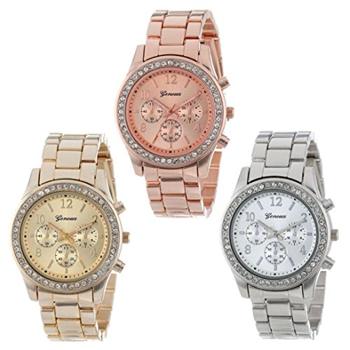 Yoyorule 3 Pack Silver Gold and Rose Gold Plated Classic Round Ladies Watch (3 - Plated Gold Bentley