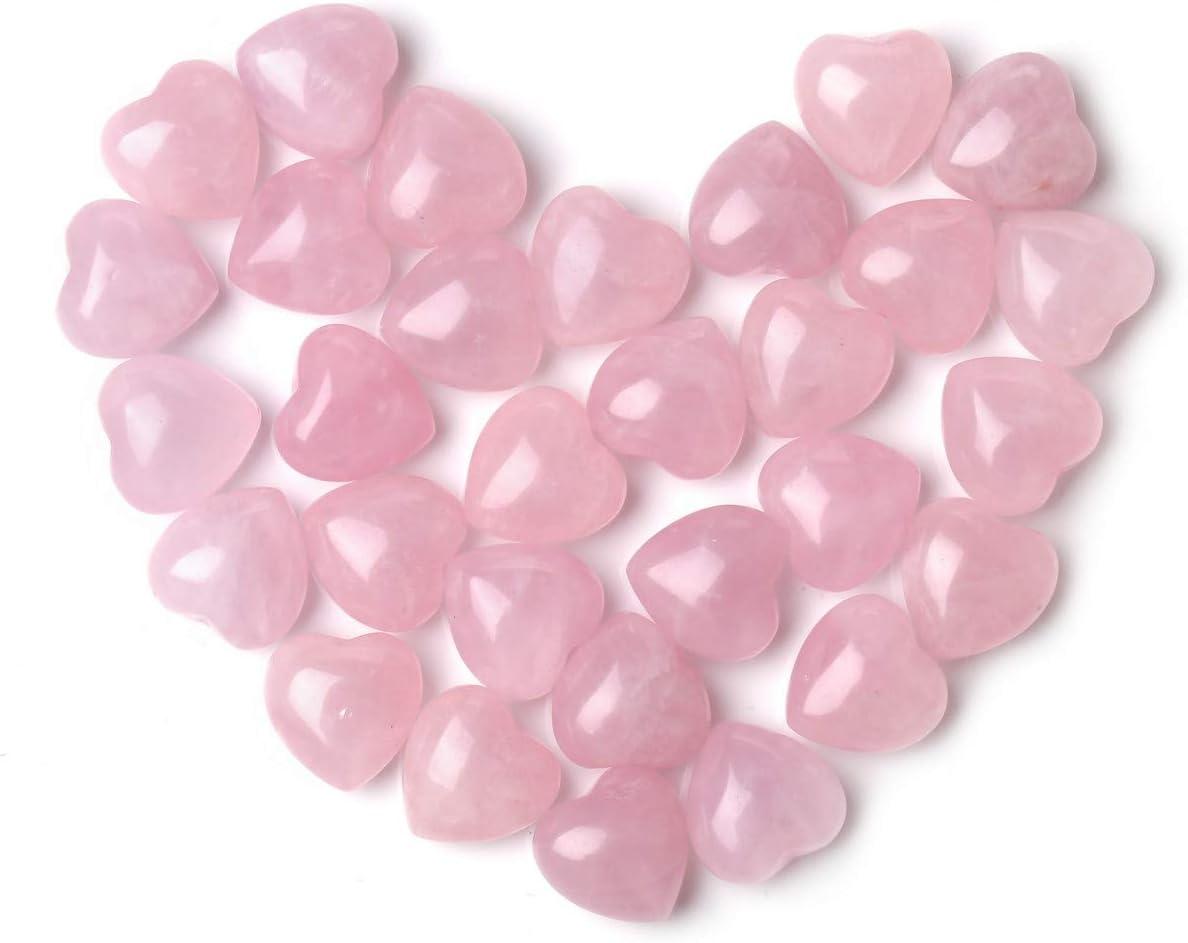 JSDDE - Piedra de Cuarzo Rosa Natural con Forma de corazón y Botella de Cristal para decoración del hogar