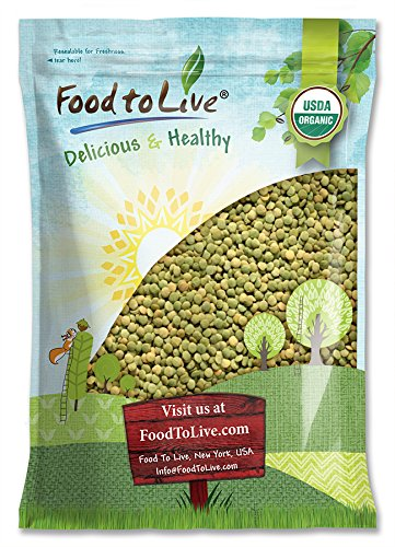 Organic Green Lentils, 5 Pounds — Whole Dry Beans, Non-GMO, Kosher, Raw, Sproutable, Bulk