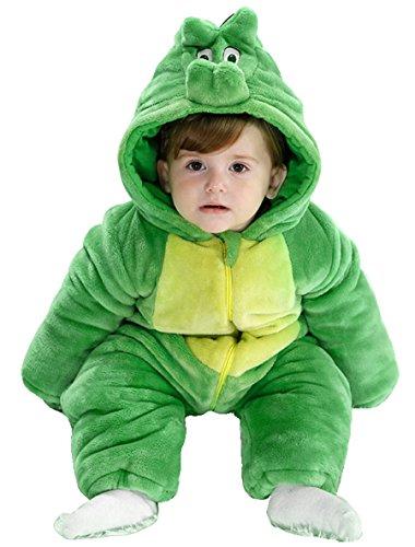 Dinosaur Costume Snow (Baby Infant Winter Flannel Romper Dinosaur Outfit Snowsuit Bunting costume costume 0-6 Months Dinosaur)