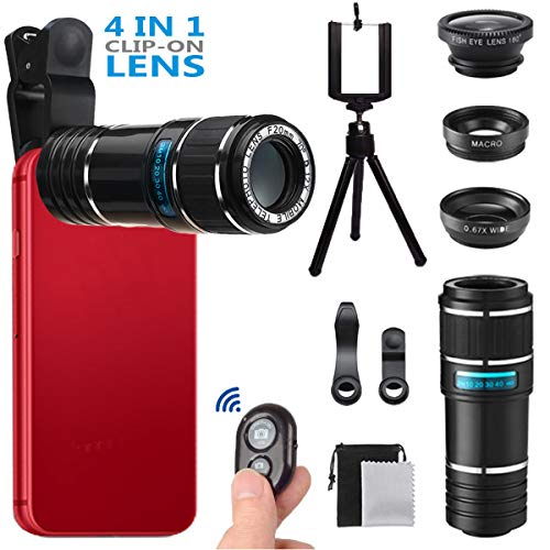 Phone Camera Lens, MSDADA Telephoto Lens Kit, 12X Optical Telescope, Fisheye, Wide Angle and Macro Lens, Retractable Tripod with Bluetooth Shutter for IPhone, Samsung, Most of Smartphones,Tablets