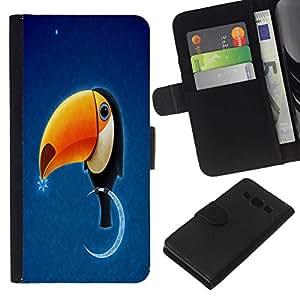 // PHONE CASE GIFT // Moda Estuche Funda de Cuero Billetera Tarjeta de crédito dinero bolsa Cubierta de proteccion Caso Samsung Galaxy A3 / Funny Toukan Toucan Bird /