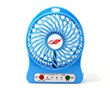 KYL 4-inch Vanes 3 Speeds Portable F95B mini USB Rechargeable Cooling Palm Leaf Fan with 18650 li-ion Battery,Blue,White,Pink,Black,Green,Orange,Purple,Handheld Portable (Blue)