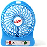 KYL 4-inch Vanes 3 Speeds Portable F95B mini USB Rechargeable Cooling Palm Leaf Fan with 18650 li-ion Battery ,Blue,White,Pink,Black,Green,Orange,Purple,Handheld Portable (Blue)