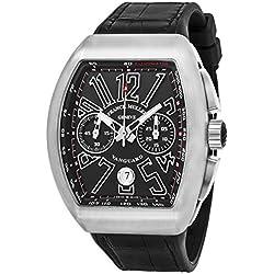 Franck Muller Vanguard Mens Black Face Automatic Chronograph Date Black Rubber Strap Swiss Watch V 45 CC DT AC BR NR