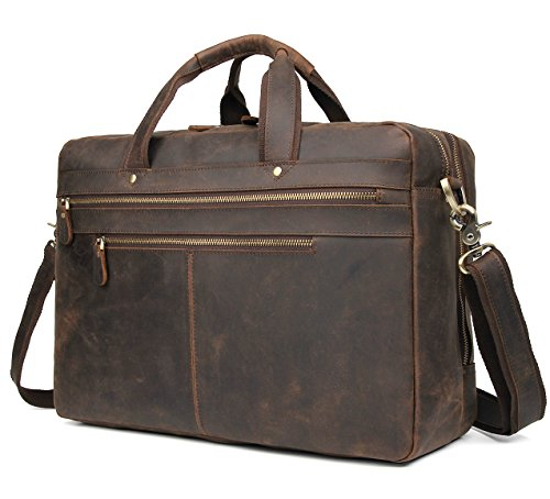 Polare Vintage Full Grain Leather 17″ Laptop Case Professional Briefcase Business Bag for Men