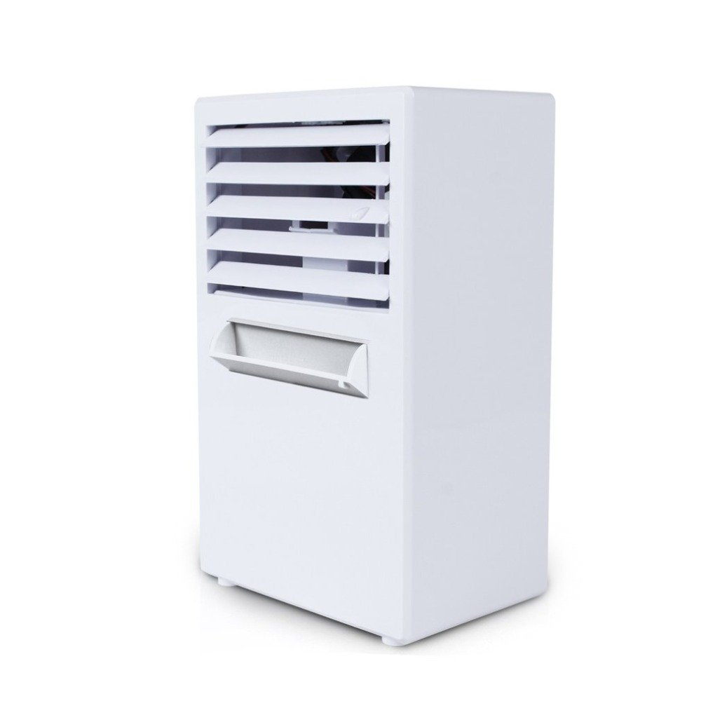 GUORZOM Mini Desktop Fan Spray Humidifier Air Conditioner Portable Arctic Air Cooler Leafless Fan Device Cool Soothing Wind Blue