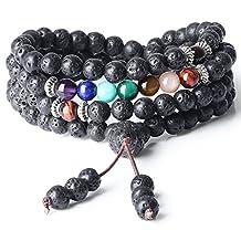 AmorWing 6mm Tibetan Prayer Lava 7 Chakra 108 Mala Beads Healing Stones Bracelet