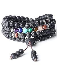 COAI 6mm Prayer Lava 7 Chakra 108 Mala Beads Stone Bracelet Necklace