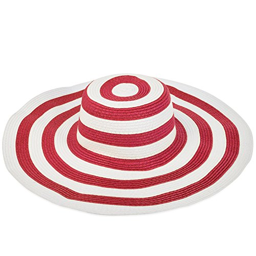 Vbiger Women's Stripes Hat Large-brimmed Beach Sunshade Straw Hat (Rosy Red)