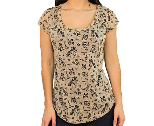 WallFlower Junior Hacci Print Top, Putty, Size Small (Putty Top)