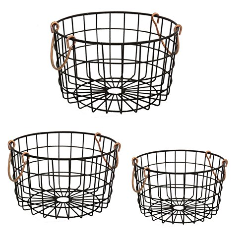 Shabby Chic French Country Round Wire Nesting Baskets Black With Copper Handles – Storage, Organization, Kitchen, Home, Decor – Set of 3