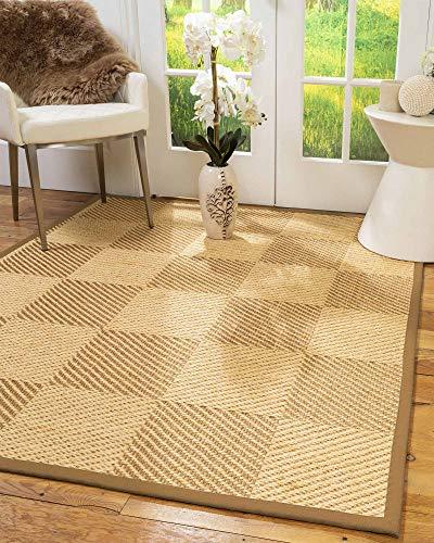 - NaturalAreaRugs 100%, Natural Fiber Handmade Osaka, Bronze/Gold Sisal Rug (2' X 3'), Doe Border