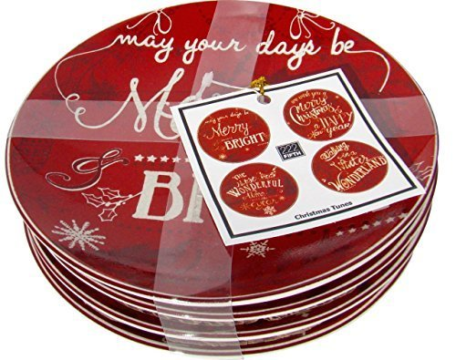 222 Fifth Christmas Tunes Dessert/ Appetizer Plates Set