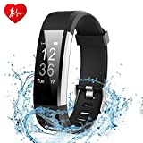 Fitness Tracker Watch - Ginsy Activity Tracker with Heart Rate Monitor Waterproof Bluetooth Pedometer Wristband Sleep Monitor Smart Watch for IOS Android Smart Phone (Black)