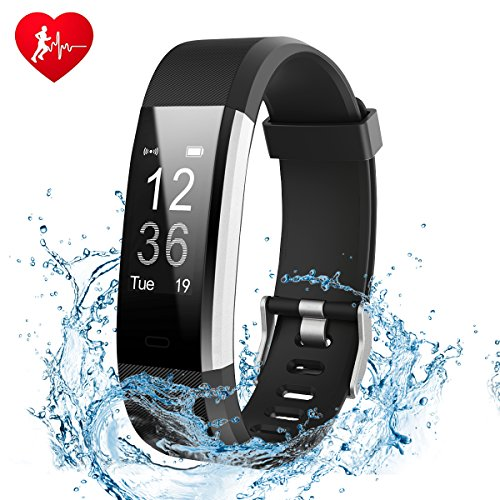 Fitness Tracker Watch, Ginsy Activity Tracker with Heart Rate Monitor Waterproof Bluetooth Pedometer Wristband Sleep Monitor Smart Watch for IOS Android Smart Phone (Black)