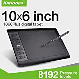 10moons drawing Tablet, 10 x 6 inch Large Active Area Drawing Tablet with 12 Hot Keys, 8192 Levels Pressure Sensitivity Pen for Windows 10/8/8.1/7
