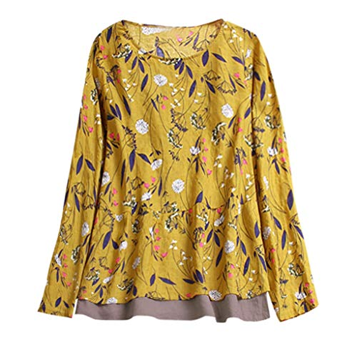 - JOFOW Blouse Plus Size Womens Long Sleeve O Neck Shirts Boho Floral Flowers Print Patchwork Chiffon Loose Casual Vintage Tops (L,Yellow)