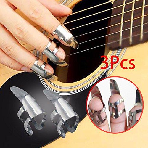 Forfar 3pcs acero inoxidable Finger Picks para Guitarra Púas Banjo y Banjo Juego de ganzúas fingerpicks