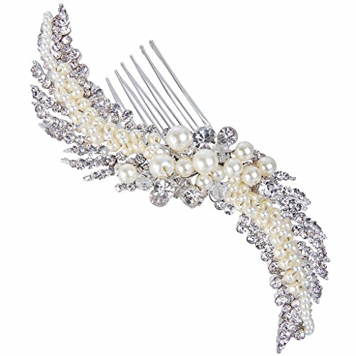 EVER FAITH Silver-Tone Austrian Crystal Cream Simulated Pearl 5 Inch Elegant Leaf Hair Side Comb Clear