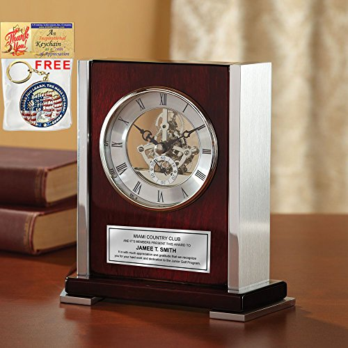 Personalized Engraved Clock Envoy Da Vinci Dial Wood Cherry Desk Clock Silver Side Casing Corporate Recognition Service Award Retirement Gift Employee Business Gift Wedding Anniversary Birthday - Executive Clock