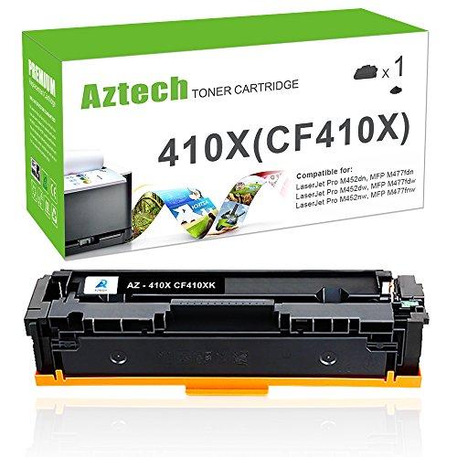 Aztech Compatible Toner Cartridge Replacement for HP 410X 410A CF410X CF410A HP Color LaserJet Pro Pro MFP M477fnw M477fdn M477fdw, Pro M452dw M452nw M452dn (1Pack, Black) ()