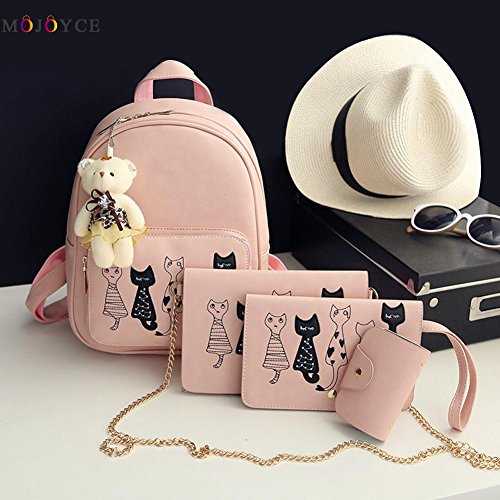02 Black Leather 4Pcs Teenage PU School Small Backpacks Set Girls for Backpack Pink Bags Women 8P68An