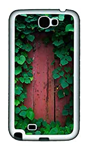 Samsung Note 2 Case Green leafy wall TPU Custom Samsung Note 2 Case Cover White