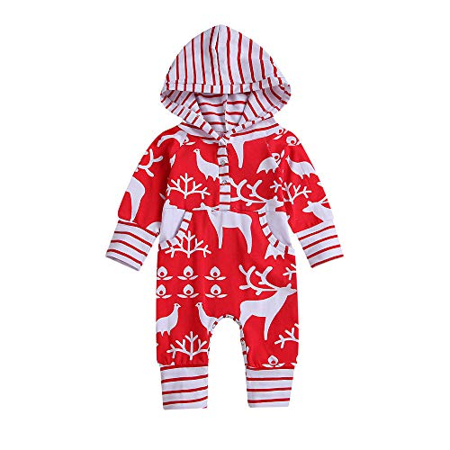 Price comparison product image PLENTOP 2019 Baby Boys Jackets 18 to 24 Months,  Christmas Newborn Infant Baby Girl Boy Striped Deer Hooded Romper Jumpsuit