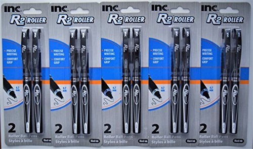 Inc. R-2 Roller Ball Pens, Black (5 packs of 2, 10 ct.)