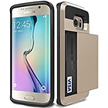 Galaxy S6 Edge Case, Asstar [Stand Feature] Wallet case [Anti Scratch][Card Pocket] Dual Layer Shockproof [Soft Rubber Bumper] Hybrid Protective Card Case for Samsung Galaxy S6 Edge (Gold)