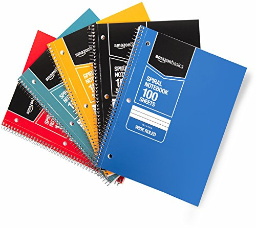 (AmazonBasics Wide Ruled Wirebound Spiral Notebook, 100 Sheet, Assorted Solid Colors, 5-Pack)