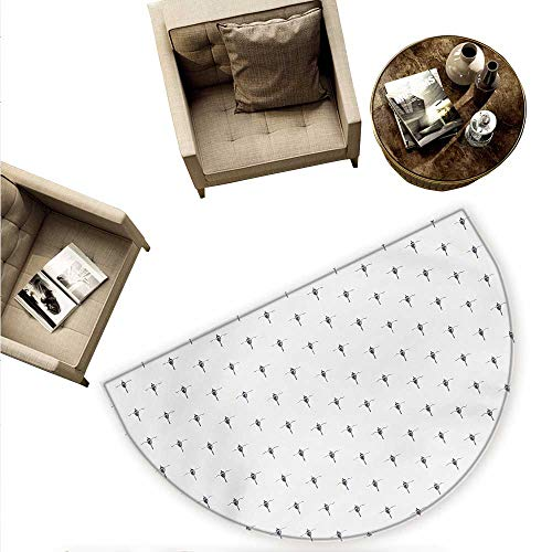 Modern Semicircle Doormat Float Bobbest in The Sea Hand Drawn Style Sketchy Image Artwork Halfmoon doormats H 63