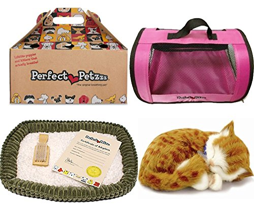 Perfect Petzzz Orange Tabby Soft Toy with Pink Tote For Plush Breathing Pet