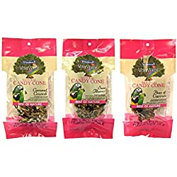 Vitakraft VitaVerde Best Of Nature Natural Candy Cone 3 Flavor Variety Bundle: (1) Coconut Crunch Candy Cone, (1) Sun Flower Candy Cone, and (1) Peas & Carrots Candy Cone, 1 Oz. Ea. (3 Bags Total)