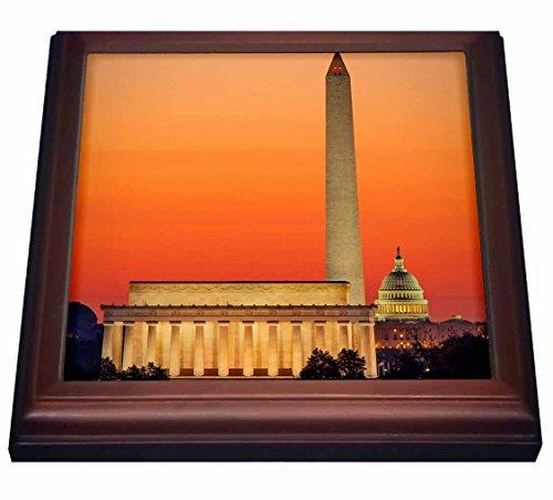 3dRose trv_206313_1 Dawn over Washington DC Trivet with Ceramic Tile 8 x 8