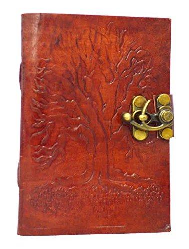 Zap Impex® - Libreta de piel con diseño de árbol, candado, 10 x 13 cm aprox., variedad de usos, color marrón oscuro