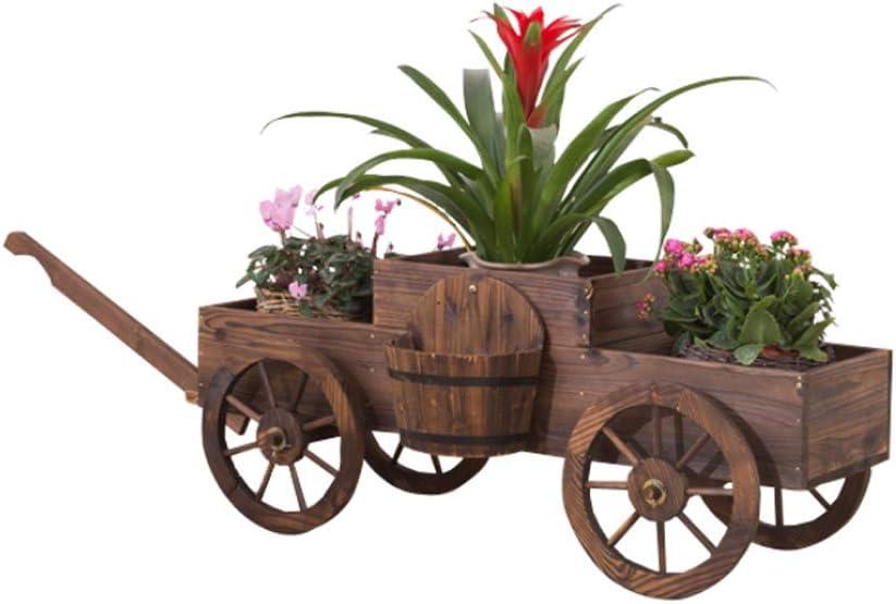 Jitnetiy Country Wooden Wagon Flower Planter Wheels Garden Outdoor Decor (4 Wheel)