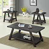 Roundhill Furniture OS3371 Athens, Coffee Table Set, Grey