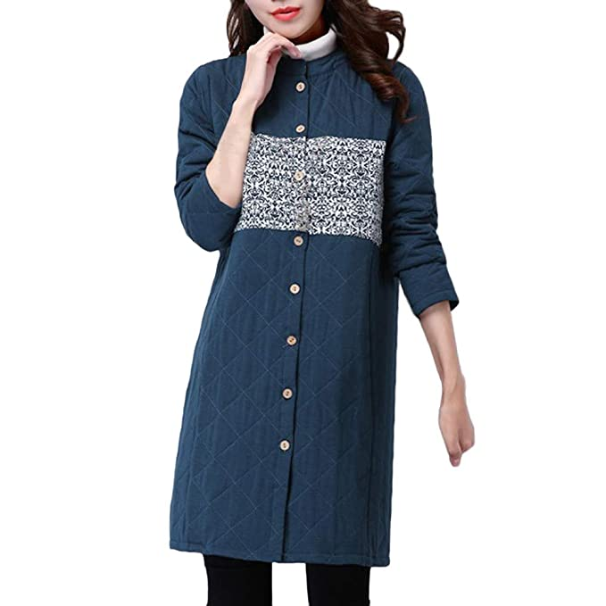 BBestseller Moda Chaqueta Largo de Viento Nacional para Mujer con Costuras Impresión Ropa de Lino Abrigo