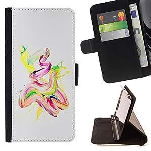 For Samsung Galaxy Note 4 IV Case , Acuarela Pintura Aceite Rosa Amarillo Finger Paint- la tarjeta de Crédito Slots PU Funda de cuero Monedero caso cubierta de piel