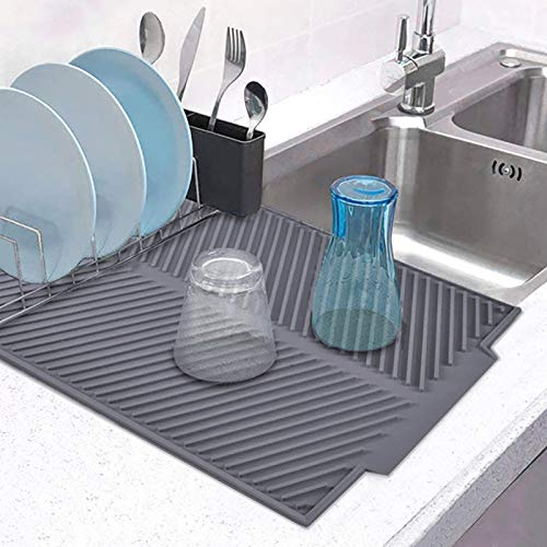 MEJAE Dish Drying Mat for Kitchen Counter, Silicone Large Dish Drying Pad, Easy Clean Non-slipping Heat Resistant Foldable Dish Drain Mat Sink Mat, Gray
