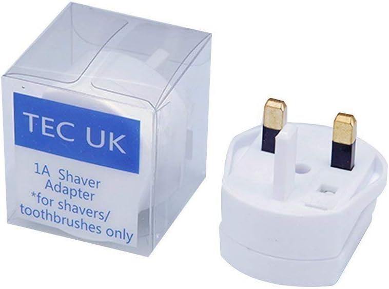 TEC UK - Adaptador de fusible de 2 pines a 3 pines 1 A para afeitadora y cepillo de dientes (1 enchufe en paquete al por menor)