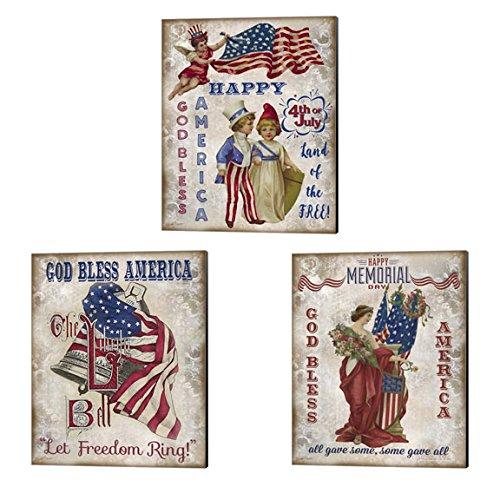 Retro Patriotic by Jean Plout, Piece Art Set,Americana Art