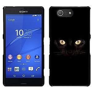 // PHONE CASE GIFT // Duro Estuche protector PC Cáscara Plástico Carcasa Funda Hard Protective Case for Sony Xperia Z3 Compact / Black Cat Siamese Panther House Pet /