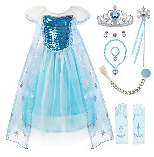Padete Little Girls Anna Princess Dress Elsa Snow Party Queen Halloween Costume (7 Years, Blue SS with Accessories)