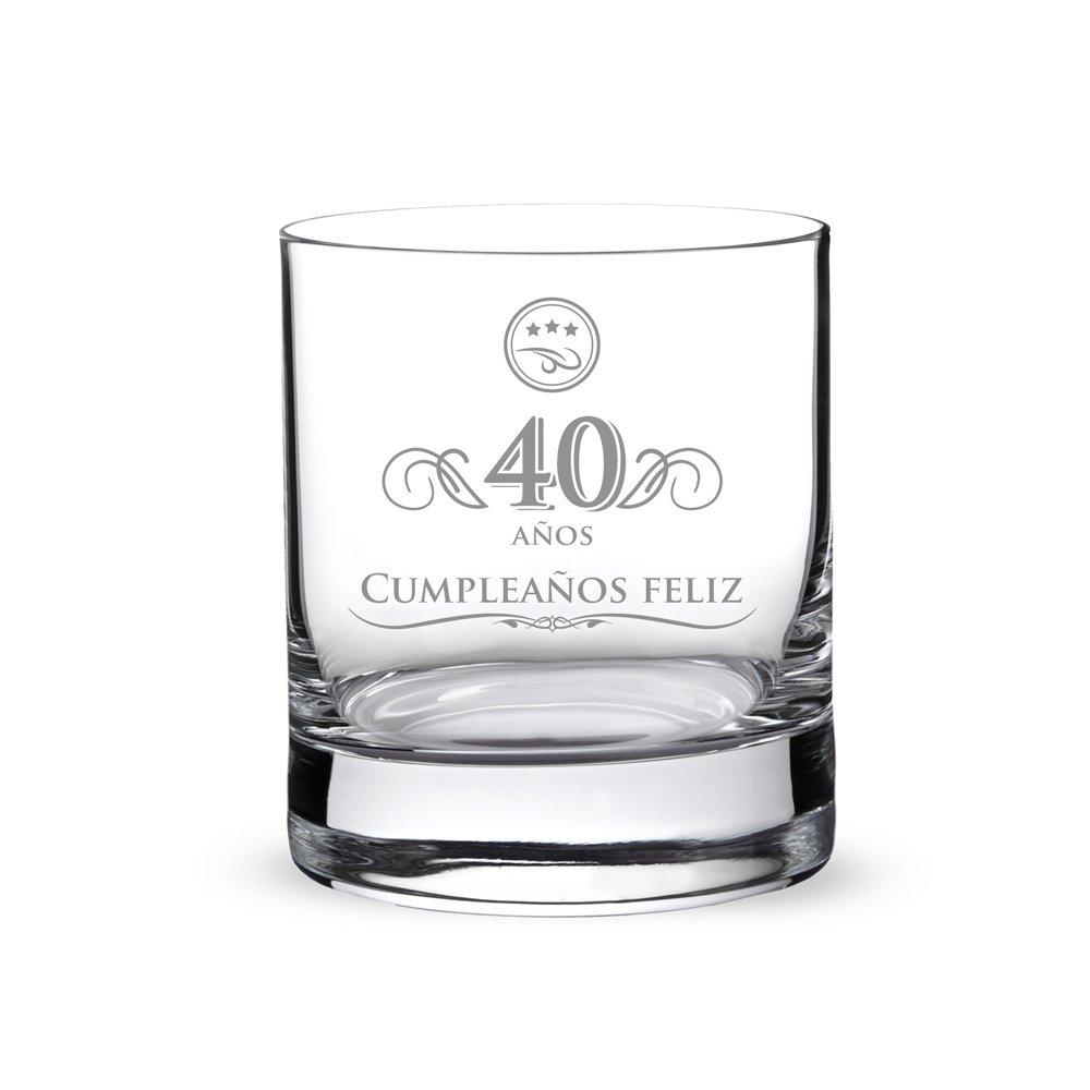 AMAVEL Vaso de Whisky para Hombres de Vidrio Grabado 40 Años Capacidad 320 ml